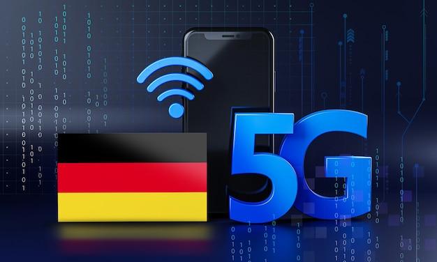 Duitsland klaar voor 5g-verbindingsconcept. 3d-rendering smartphone technische achtergrond
