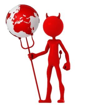 Duivel houdt earth globe.