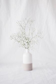Dunne groene plant takken met bloemen in vaas