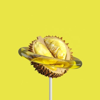 Durian fruit candy. minimaal fruit idee. 3d render.