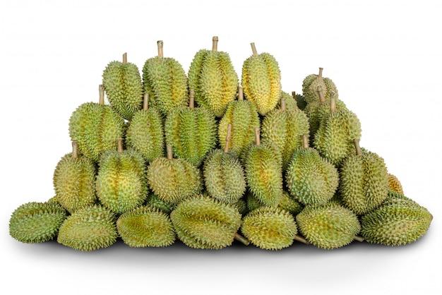Durian fruit regelen samen geïsoleerd.