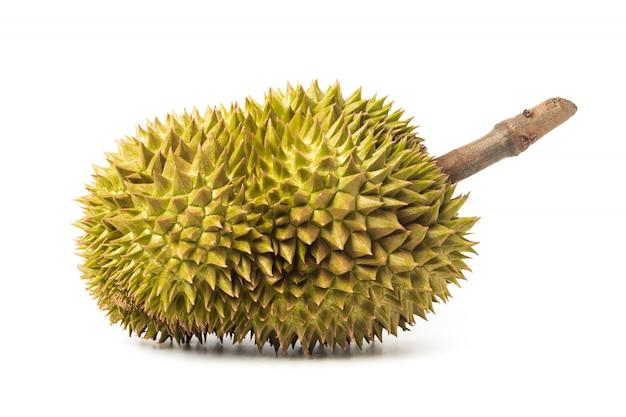 Durian op witte achtergrond wordt geïsoleerd die. koning van fruit in thailand.