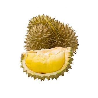 Durian stukken op wit