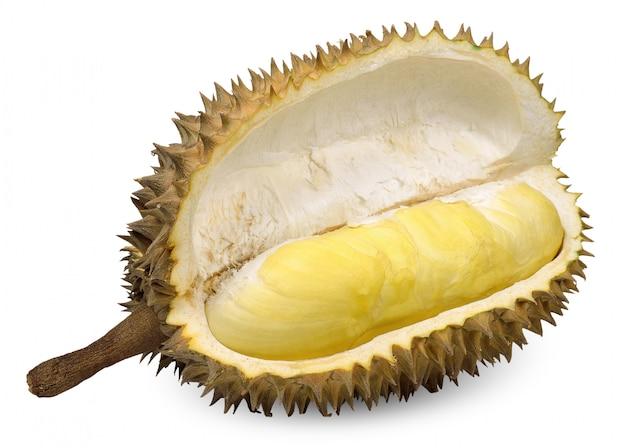 Durianfruit op witte blackground wordt geïsoleerd die