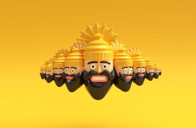 Dussehra celebration - ravana met tien hoofden 3d-rendering illustratie.