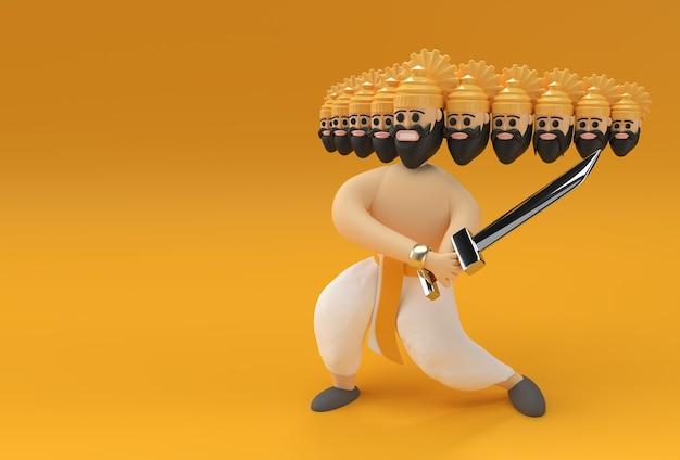 Dussehra celebration - ravana met tien hoofden met zwaard en schild 3d-rendering illustratie.