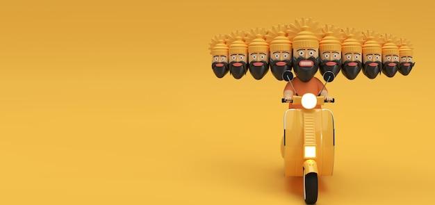 Dussehra celebration - ravana met tien hoofden rijden motor scooter 3d-rendering illustratie.