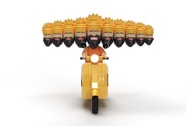 Dussehra celebration - ravana met tien koppen die op een scooter rijden - pengereedschap gemaakt uitknippad opgenomen in jpeg gemakkelijk te componeren.