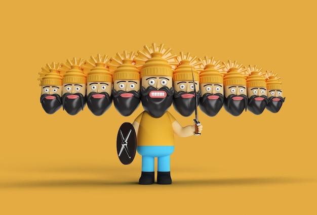 Dussehra celebration - ravana met tien koppen met zwaard en schild pen tool gemaakt uitknippad opgenomen in jpeg gemakkelijk te componeren.