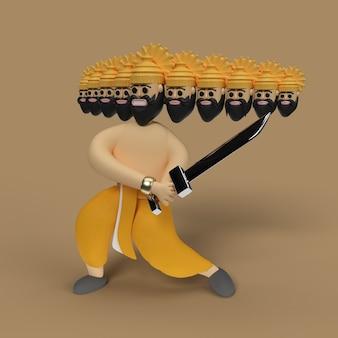 Dussehra celebration - ravana met tien koppen met zwaard - pengereedschap gemaakt uitknippad opgenomen in jpeg gemakkelijk te componeren.