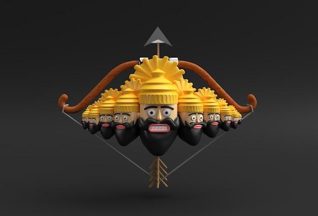 Dussehra celebration - ravana met tien koppen op pijl en boog 3d-rendering illustratie.
