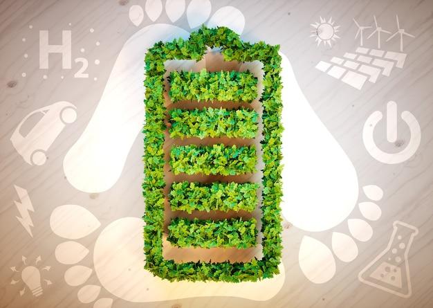 Duurzaam energieconcept. 3d computer gegenereerde afbeelding.