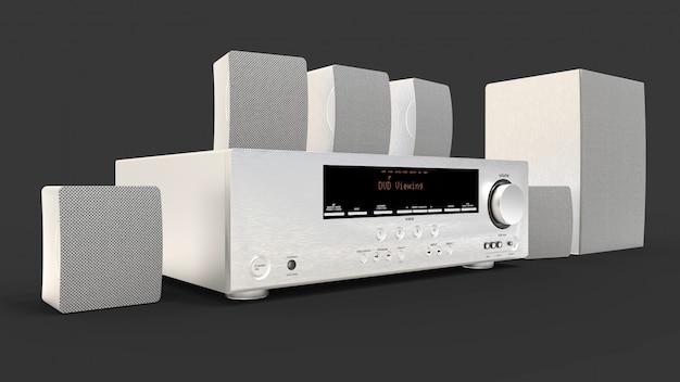 Dvd-ontvanger en home cinema-systeem met luidsprekers en subwoofer van aluminium