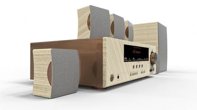 Dvd-ontvanger en home cinema-systeem met luidsprekers en subwoofer van geschilderd metaal en licht hout