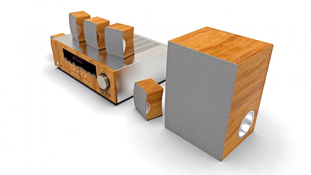 Dvd-ontvanger en home cinema-systeem met luidsprekers en subwoofer
