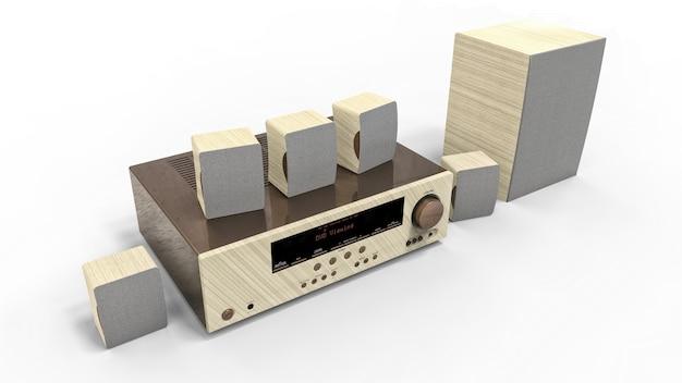 Dvd-ontvanger en thuisbioscoopsysteem met luidsprekers en subwoofer van geverfd metaal en licht hout. 3d-afbeelding.