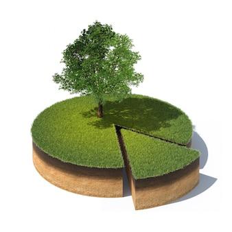Dwarsdoorsnede van de grond met gras en boom