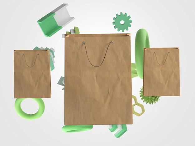 Dynamische 3d-papieren boodschappentassen