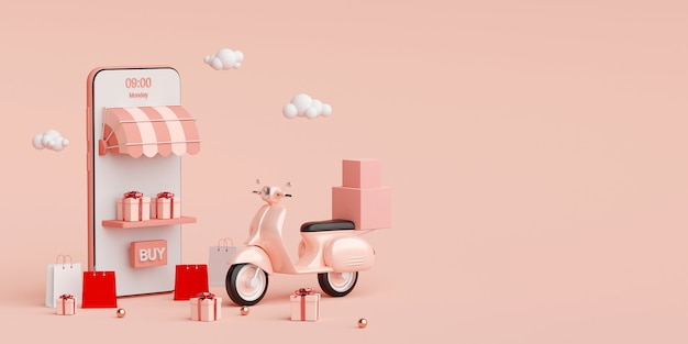 E-commerce concept, bezorgservice op mobiele applicatie, transport of voedselbezorging door scooter, 3d-rendering