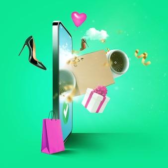 E-commerce verkoop en aankoop via smartphone, concept. online winkelen met een smartphone met vliegende aankopen: schoenen, boodschappentas, cadeau, sieraden, ballon en confetti uit display. express levering