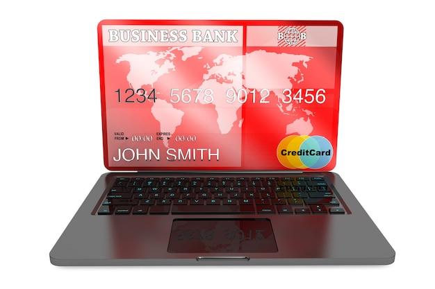 E-commerceconcept. laptopcomputer en creditcard op een witte achtergrond