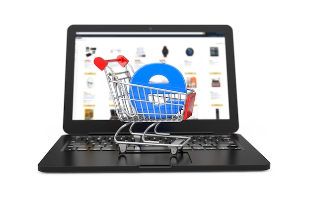 E-commerceconcept. winkelwagen trolley met blauwe letter e als elektronische handel over moderne laptop op een witte achtergrond. 3d-rendering