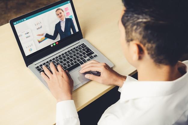E-learning en online zakelijke presentatie meeting concept.