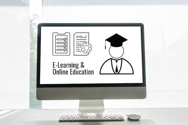 E-learning online onderwijs met pictogrampapierwerkdocument en afgestudeerde studie in het buitenland internationale universiteit in computermonitor. examen- of certificaatstudie kan wereldwijd leren door internettechnologie