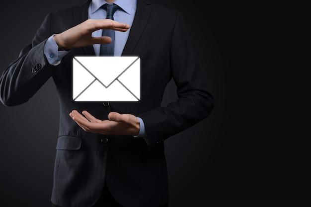 E-mail gebruiker pictogram, teken, symbool marketing nieuwsbrief concept, diagram.email.bulk mail.e-mail en sms