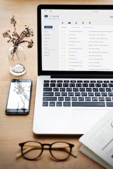 E-mail inbox berichtenlijst online interface