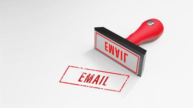 E-mail rubberstempel 3d-rendering