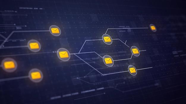 E-mailberichten netwerk circuit board link connection technology