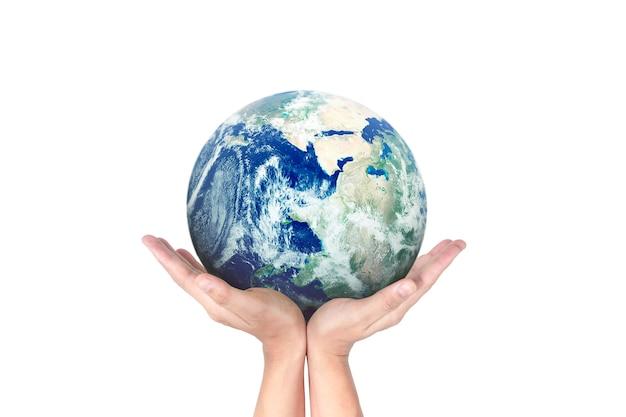 Earth globe in menselijke hand.