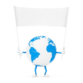 Earth globe karakter mascotte en lege witte lege banner met vrije ruimte voor uw ontwerp op een witte achtergrond. 3d-rendering