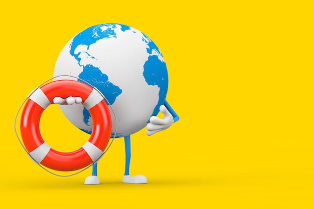 Earth globe karakter mascotte en moderne mobiele telefoon met reddingsboei op een gele achtergrond. 3d-rendering