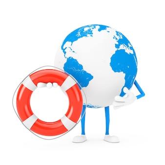 Earth globe karakter mascotte en moderne mobiele telefoon met reddingsboei op een witte achtergrond. 3d-rendering