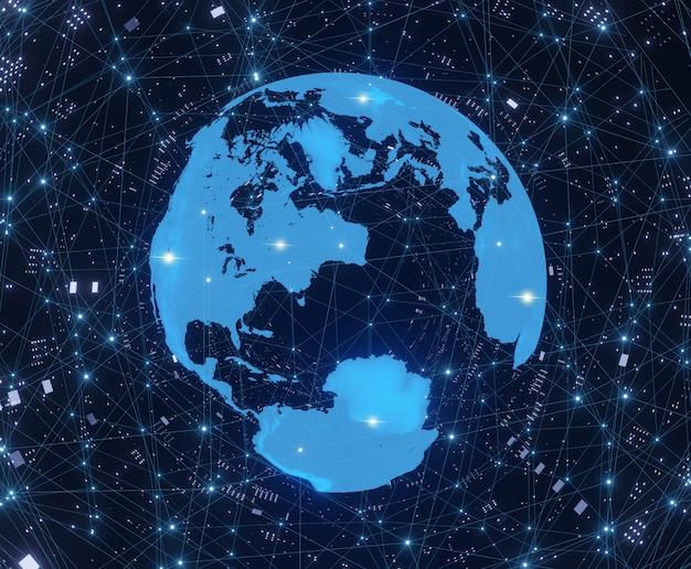 Earth globe op digitale technologie stijl