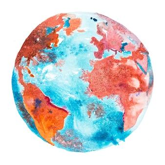 Earth globe, planeet aarde. de wereld oceaan, zee tussen amerika, afrika en europa.