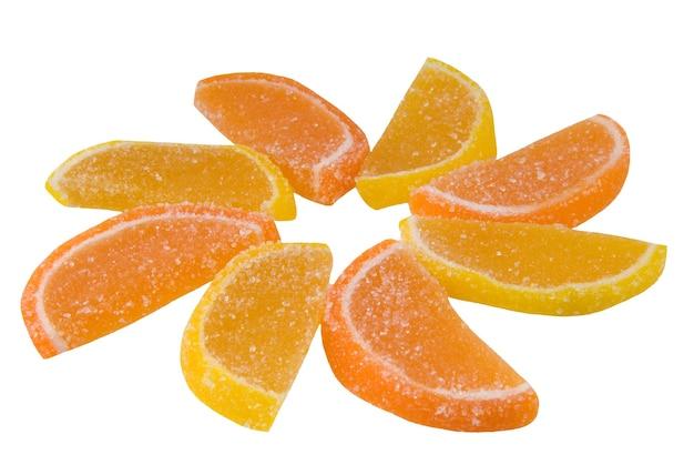 East sweets tweekleurige snoepjes in de vorm van partjes van een sinaasappel van kleur fruitsnoep