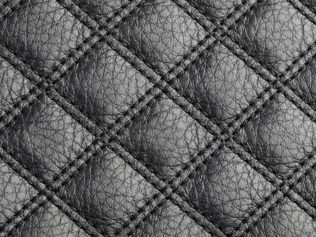 Echt vierkant gestikt zwart rundleer textuur