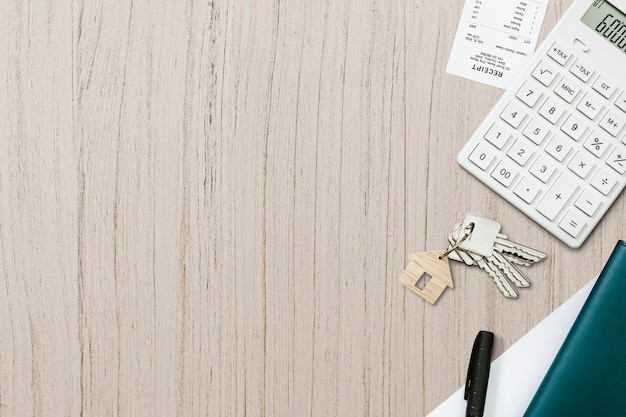 Echte eastate wallpaper achtergrond, huis sleutel hypotheek concept