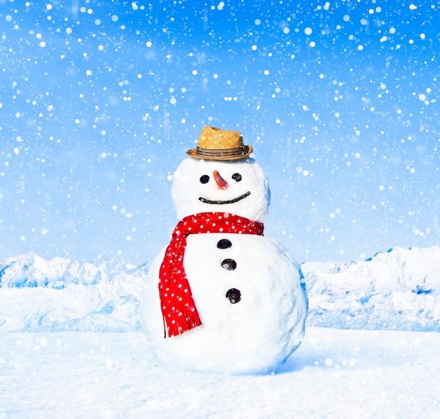 Echte sneeuwman in openlucht in wit landschap.