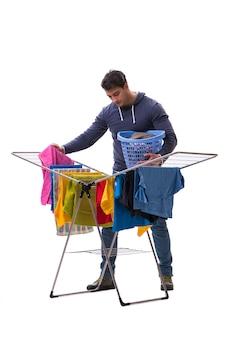 Echtgenootmens die geïsoleerde wasserij doet
