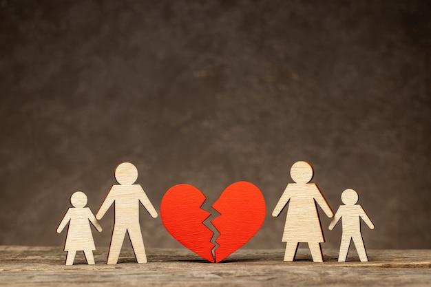 Echtscheiding in een gezin met kinderen. bij wie blijven de kinderen na de scheiding? moeder met een kind en vader met een kind