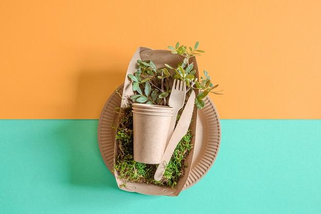Eco ambachtelijk papieren serviesgoed