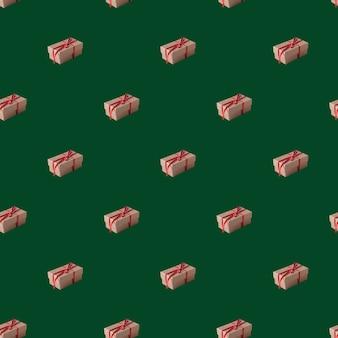 Eco geschenkdozen gebonden met rood lint op groene achtergrond naadloze patroon