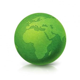 Eco green globe europa en afrika kaart op wit