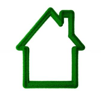 Eco huis op witte ruimte. geïsoleerde 3d-afbeelding