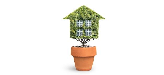 Eco model huis, huis groene bladeren