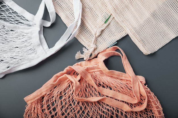 Eco-tassen van katoen. geen afvalconcept